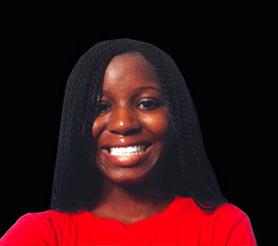 Medium Closeup photo of a young black woman wearing a red shirt.